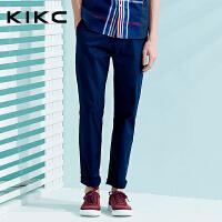 kikc休闲裤男2018夏季新款时尚潮流青年修身纯色裤子