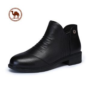 骆驼牌女鞋中老年真皮短筒靴女士皮靴中年粗跟靴子妈妈鞋大码秋冬