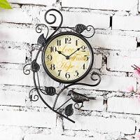 钟表挂钟客厅个性 创意艺术挂钟田园静音时钟 时尚铁艺装饰钟 黑色 8英寸