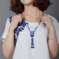 景泰蓝串珠项链女长款毛衣链民族风项链送女友生日礼物