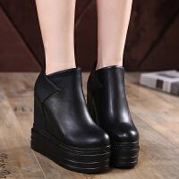 厚底坡跟短靴女超高跟2018秋冬新款松糕鞋单靴内增高马丁靴子裸靴 黑色