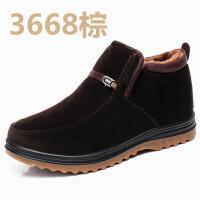 老北京布鞋男棉鞋牛筋底加厚中老年人棉靴爸爸短靴子防滑保暖冬季软底