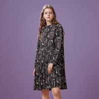 【1件2折到手价:76】美特斯邦威连衣裙女士冬装新款简约印花梭织连衣裙专柜款