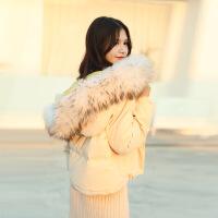反季节短款轻薄羽绒服女2018新款小个子外套时尚真貉子毛领保暖