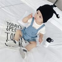婴儿背带裤夏季新生儿软牛仔纯棉五分连体短裤0-2岁3宝宝裤子