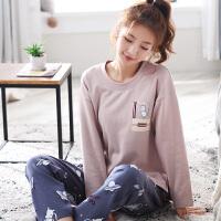 春秋睡衣女秋可外穿韩版薄款清新学生家居服长袖两件套装冬夏