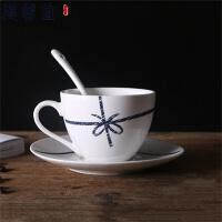 【爆款直降 限时秒杀】汉馨堂 咖啡杯 简约咖啡杯碟套装欧式家用下午茶杯陶瓷马克杯个性情侣咖啡厅茶水杯带勺