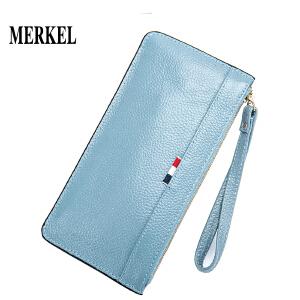 莫尔克 2018新款韩版简约女士真皮手拿包手机包头层牛皮女士钱包女长款拉链手包