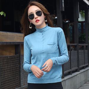 早秋女士针织衫新款韩版半高领薄款毛衣女宽松大码长袖毛线衣