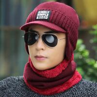 帽子男士冬天毛线帽韩版保暖套头帽加绒遮脸护耳针织帽