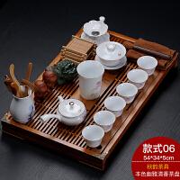 功夫茶具套装家用办公大号实木茶台茶盘紫砂陶瓷青花白瓷整套 24件
