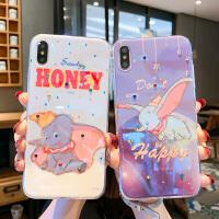 卡通小飞象苹果X/Xs/Xr手机壳水钻iPhone6s/7/8plus蓝光XsMax硅胶 6/6s 紫色水钻小飞象 蓝