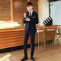 韩版西装男套装 三件套青少年学生 帅气小西装男上衣单件修身一套 藏青色 上衣+裤子+马甲