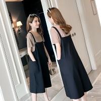 孕妇裤子外穿潮妈孕妇背带裤春秋孕妇夏装两件套装2018新款