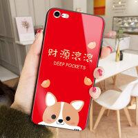 猪年新年苹果6plus手机壳iPhone7保护套X过年红色玻璃壳8plus防摔6s可爱卡通7P情侣个 苹果6/6s 财