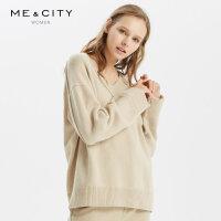 【1件5折价:204.5,可叠券】绵羊毛MECITY女装冬季长袖罗纹V领薄款毛衫