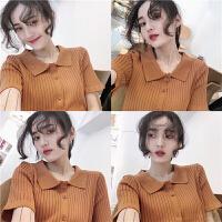 港风polo衫女夏装2018新款修身显瘦纯色短袖针织衬衣韩系chic上衣