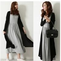 女装春秋季韩版新款大码长款两件套连衣裙长裙搭配开衫长袖外套潮
