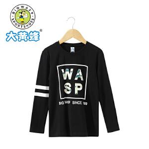 大黄蜂童装 2018年春季新款男童长袖T恤字母印花棉T水洗上衣潮