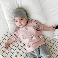 婴儿秋款上衣纯棉0-3岁新生儿男女宝宝幼儿外出韩版潮长袖T恤
