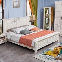 zuczug美式乡村实木床双人床婚床高箱床1.8米1.5米地中海实木床主卧家具 白色