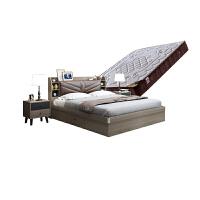 板式床现代双人床1.51.8米小户型气动高箱收纳储物床婚床带音响床 1800mm*2000mm 组装式箱体床