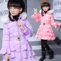女童棉衣冬装新款2017韩版儿童棉服中长款中大童毛领保暖棉袄外套 XAD533