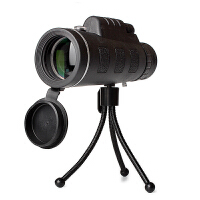 单筒望远镜 户外高倍高清带指南针大目镜夜视微光演唱会拍照望眼镜非红视带指南针观鸟镜 黑色 中性40*60全套(带指南针