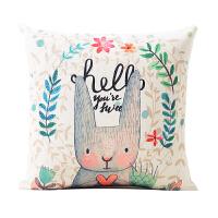 卡通可爱棉麻抱枕韩式办公室靠枕汽车腰枕亚麻沙发靠垫含芯抱枕套