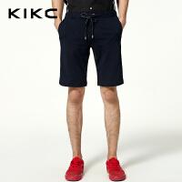 kikc休闲裤男2018夏季新款韩版潮流黑色纯色时尚五分短裤男士