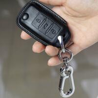 于一键启动速腾帕萨特新速腾朗逸真皮大众途观钥匙包套 典雅黑 马镫款 一键启动钥匙包+挂钩