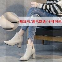 米色马丁短靴子秋冬季2018新款瘦瘦网红女款百搭粗跟高跟女鞋冬款SN9061 米色 加绒