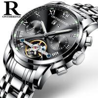 2018新款 手表 多功能瑞士实心不锈钢男士陀飞轮全自动机械手表 机械男032钢 黑底银边