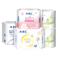 【47片组合】ABC蓝芯KMS清凉舒爽棉柔透气护垫卫生巾组合5包