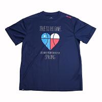 斯伯丁 SPALDING 20014 篮球运动服男子圆领短袖T恤大码男装时尚印花休闲针织衫