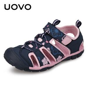 【每满100立减50】 UOVO女童凉鞋2018新款儿童凉鞋女中小童包头宝宝沙滩鞋韩版夏季潮 卡梅尔
