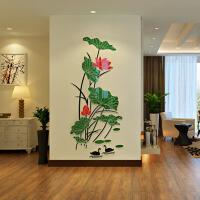亚克力3d立体墙贴家装饰品客厅玄关卧室电视背景墙荷花壁纸贴画