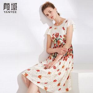 颜域品牌女装夏装2018新款女小飞袖修身显瘦中长款蕾丝印花连衣裙