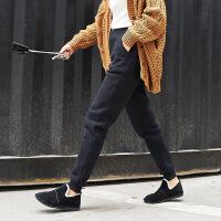 双层高腰加长加绒运动裤女小脚宽松显瘦冬季哈伦长裤运动休闲棉裤