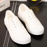 【支持礼品卡支付】夏季新款白色帆布鞋女平底小白鞋韩版透气学生鞋系带板鞋 BE-6515