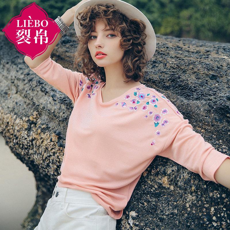 【2件7折】裂帛女装2018夏新款百搭圆领花朵刺绣套头衫七分袖宽松T恤女