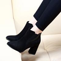 短靴女高跟2018秋冬新款磨砂女鞋尖头马丁靴韩版靴子粗跟绒面女靴 黑色