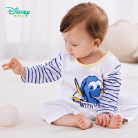 【2件3.5折到手价:53.2】迪士尼Disney童装 男童条纹拼接连体衣春季新款宝宝海底总动员多莉印花爬服191L7