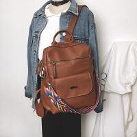 女士包包双肩包女韩版pu复古休闲背包学院风校园学生书包