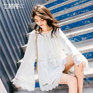 七格格春季上衣女韩版百搭2019新款蕾丝洋气小衫白色流苏雪纺衫潮