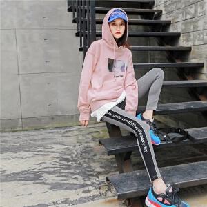 七格格卫衣2018新款女秋季韩版宽松粉色连帽休闲印花运动长袖上衣