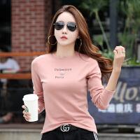 新款早秋韩版女士上衣服修身显瘦长袖t恤女简约圆领打底衫