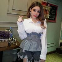 格子衬衫女韩版春装新款名媛气质POLO领拼接木耳边长袖衬衣潮