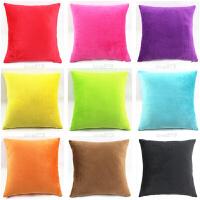 糖果色超柔毛绒汽车沙发抱枕靠垫套子不含芯色定做 办公室腰靠