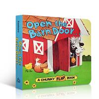 【顺丰速运】英文原版 Open the Barn Door 打开谷仓门 chunky flap Book 有趣的书 0